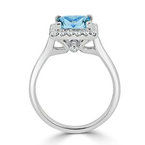 Halo Sky Blue Topaz Diamond Ring in 14K White Gold with 1.75 carat Princess Sky Blue Topaz