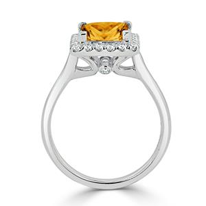 Halo Citrine Diamond Ring in 14K White Gold with 1.75 carat Princess Citrine