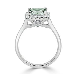 Halo Green Amethyst Diamond Ring in 14K White Gold with 1.20 carat Princess Green Amethyst