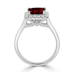 Halo Garnet Diamond Ring in 14K White Gold with 1.75 carat Princess Garnet