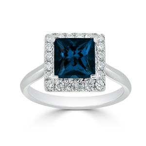 Halo London Blue Topaz Diamond Ring in 14K White Gold with 1.75 carat Princess London Blue Topaz