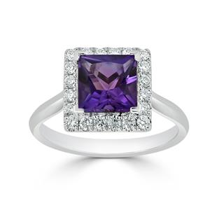 Halo Purple Amethyst Diamond Ring in 14K White Gold with 1.20 carat Princess Purple Amethyst