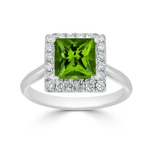 Halo Peridot Diamond Ring in 14K White Gold with 1.75 carat Princess Peridot