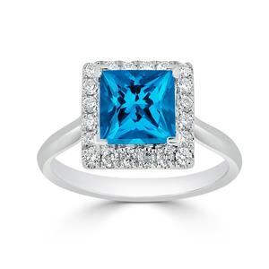 Halo Swiss Blue Topaz Diamond Ring in 14K White Gold with 1.75 carat Princess Swiss Blue Topaz