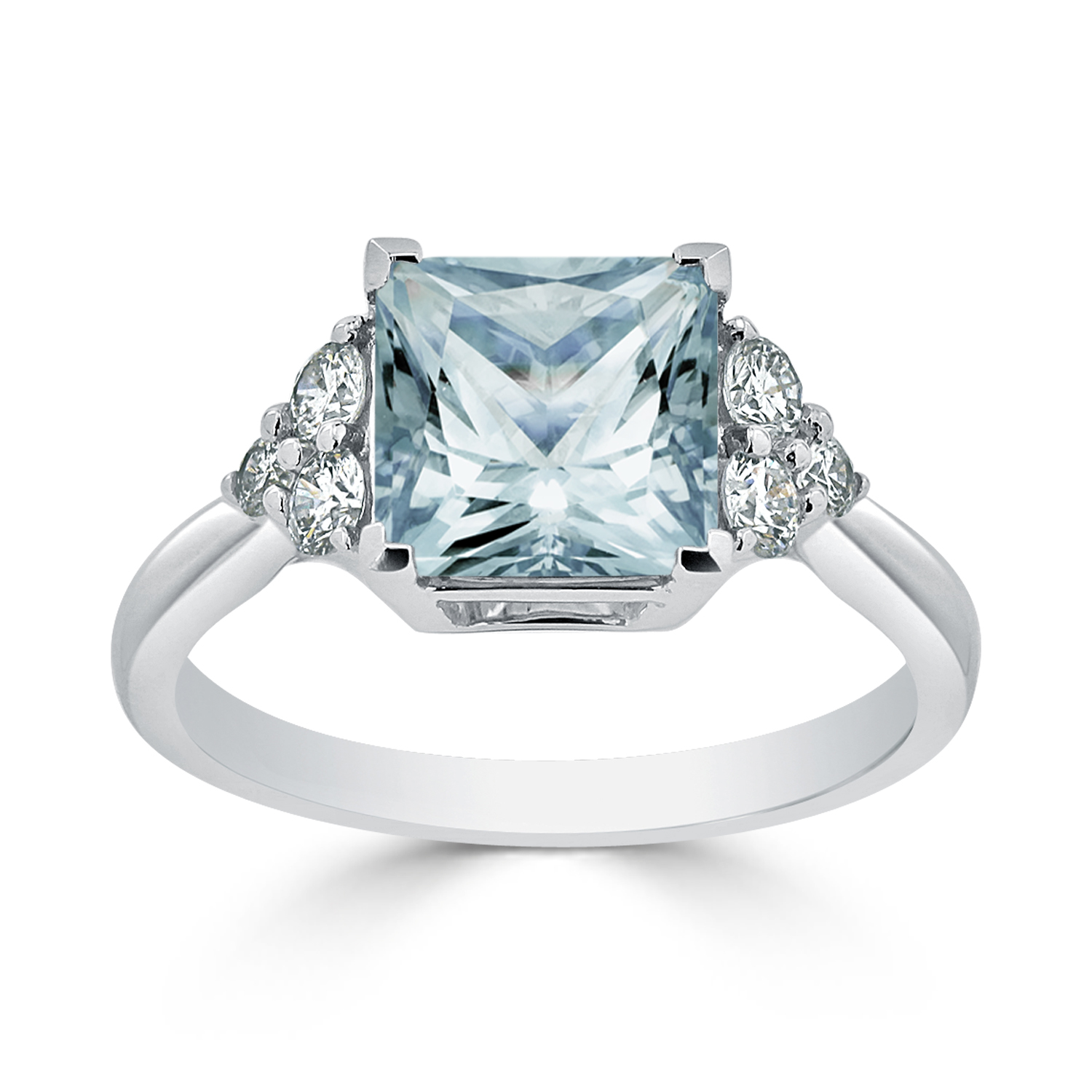 Halo Aquamarine Diamond Ring in 14K White Gold with 2.10 carat Princess Aquamarine