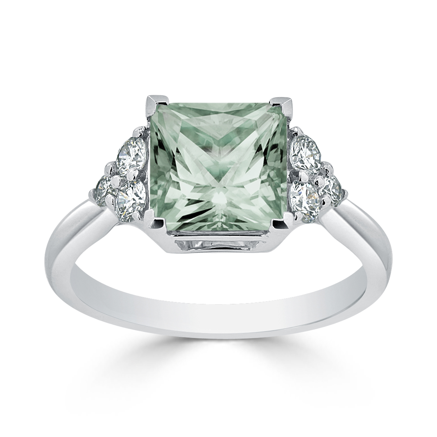 Halo Green Amethyst Diamond Ring in 14K White Gold with 2.10 carat Princess Green Amethyst