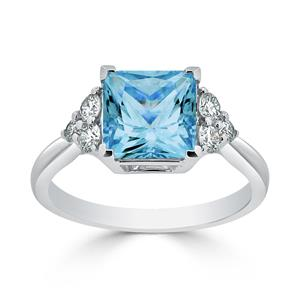 Halo Sky Blue Topaz Diamond Ring in 14K White Gold with 3.00 carat Princess Sky Blue Topaz