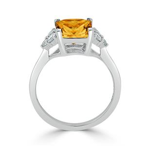 Halo Citrine Diamond Ring in 14K White Gold with 3.00 carat Princess Citrine