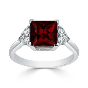 Halo Garnet Diamond Ring in 14K White Gold with 3.00 carat Princess Garnet
