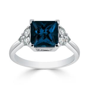 Halo London Blue Topaz Diamond Ring in 14K White Gold with 3.00 carat Princess London Blue Topaz