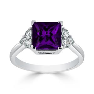 Halo Purple Amethyst Diamond Ring in 14K White Gold with 2.10 carat Princess Purple Amethyst