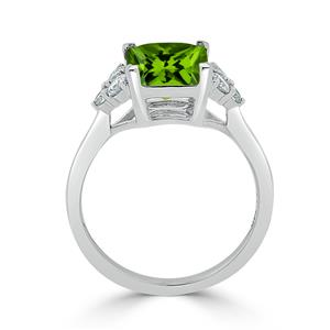 Halo Peridot Diamond Ring in 14K White Gold with 3.00 carat Princess Peridot