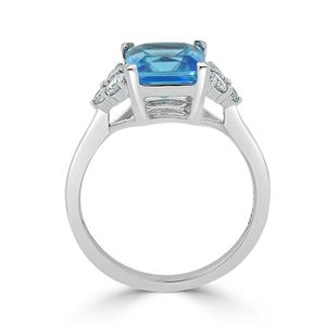 Halo Swiss Blue Topaz Diamond Ring in 14K White Gold with 3.00 carat Princess Swiss Blue Topaz