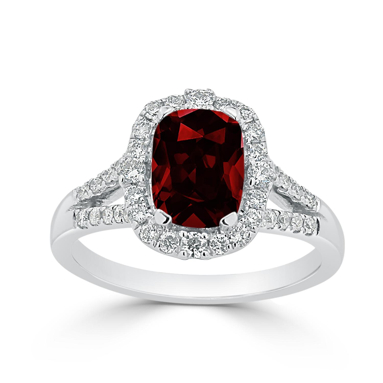 Halo Garnet Diamond Ring in 14K White Gold with 1.75 carat Cushion Garnet