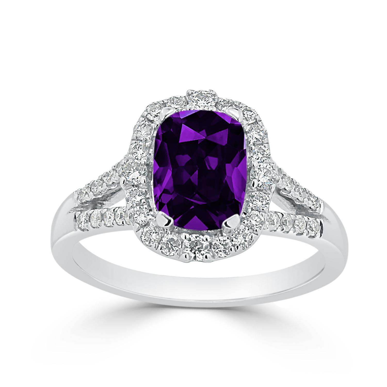 Halo Purple Amethyst Diamond Ring in 14K White Gold with 1.25 carat Cushion Purple Amethyst