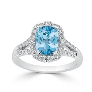 Halo Sky Blue Topaz Diamond Ring in 14K White Gold with 1.75 carat Cushion Sky Blue Topaz