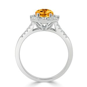 Halo Citrine Diamond Ring in 14K White Gold with 1.75 carat Cushion Citrine
