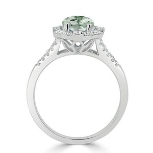 Halo Green Amethyst Diamond Ring in 14K White Gold with 1.25 carat Cushion Green Amethyst