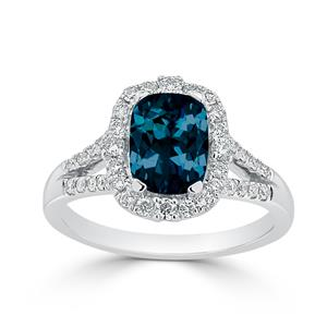 Halo London Blue Topaz Diamond Ring in 14K White Gold with 1.75 carat Cushion London Blue Topaz