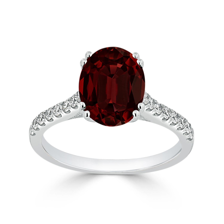 Halo Garnet Diamond Ring in 14K White Gold with 2.75 carat Oval Garnet
