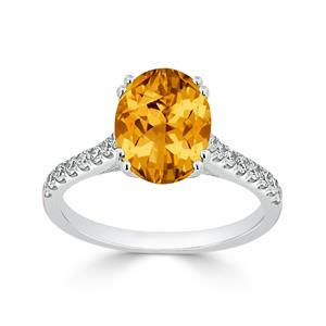 Halo Citrine Diamond Ring in 14K White Gold with 2.75 carat Oval Citrine