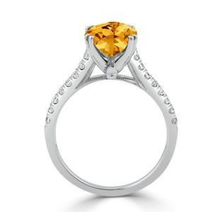 Halo Citrine Diamond Ring in 14K White Gold with 2.75 carat Oval Citrine