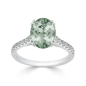 Halo Green Amethyst Diamond Ring in 14K White Gold with 1.90 carat Oval Green Amethyst
