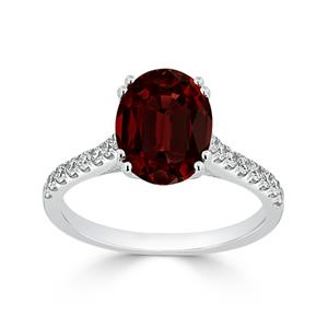 Halo Garnet Diamond Ring in 14K White Gold with 2.75 carat Oval Garnet