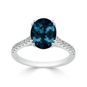 Halo London Blue Topaz Diamond Ring in 14K White Gold with 2.75 carat Oval London Blue Topaz
