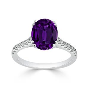 Halo Purple Amethyst Diamond Ring in 14K White Gold with 1.90 carat Oval Purple Amethyst