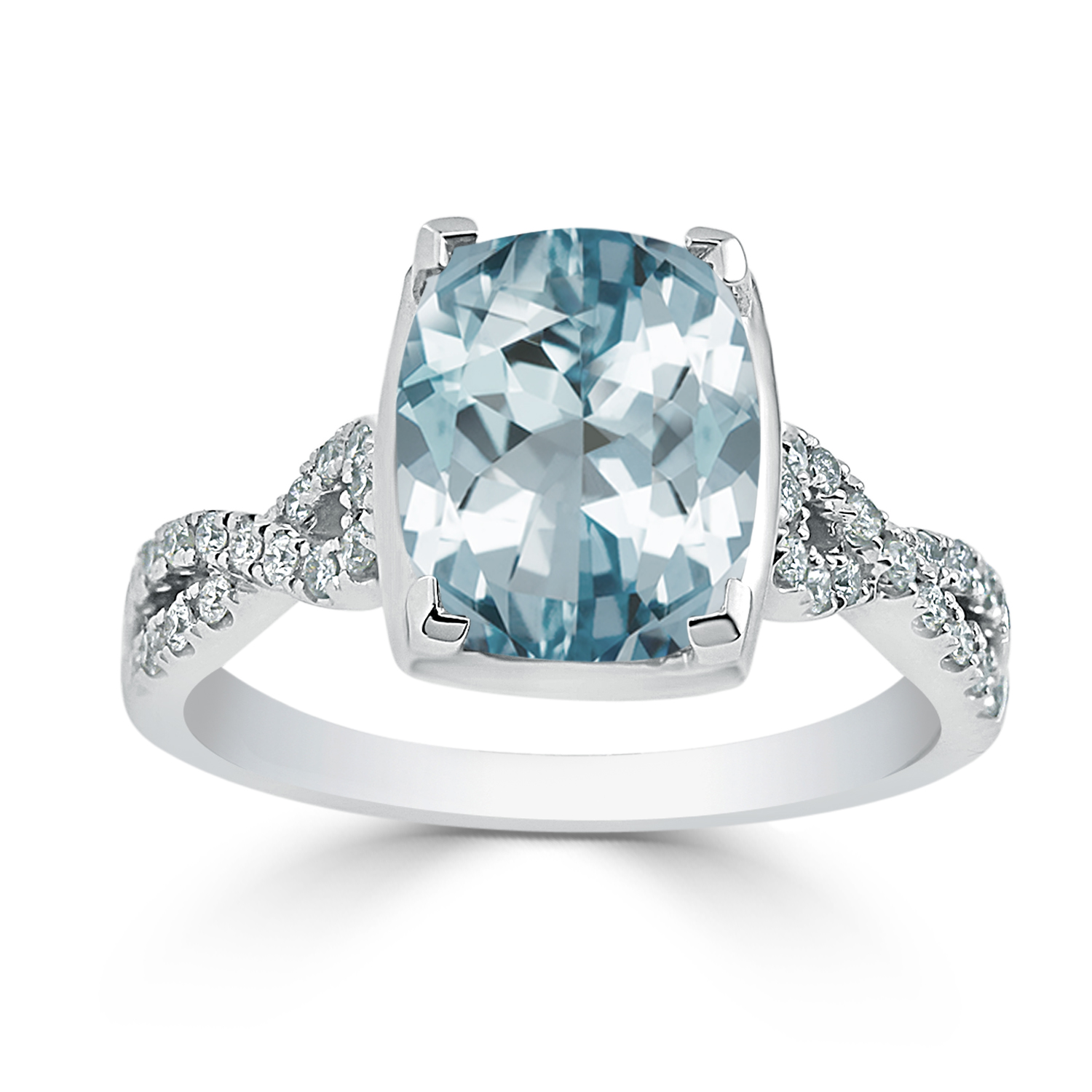 Halo Aquamarine Diamond Ring in 14K White Gold with 2.75 carat Cushion Aquamarine