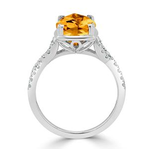 Halo Citrine Diamond Ring in 14K White Gold with 3.90 carat Cushion Citrine