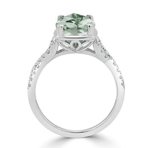 Halo Green Amethyst Diamond Ring in 14K White Gold with 2.75 carat Cushion Green Amethyst