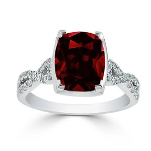 Halo Garnet Diamond Ring in 14K White Gold with 3.90 carat Cushion Garnet