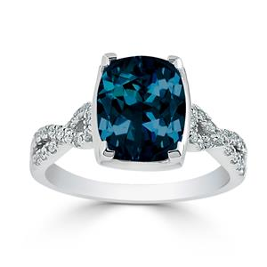 Halo London Blue Topaz Diamond Ring in 14K White Gold with 3.90 carat Cushion London Blue Topaz