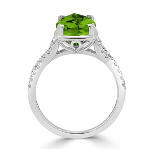 Halo Peridot Diamond Ring in 14K White Gold with 3.90 carat Cushion Peridot