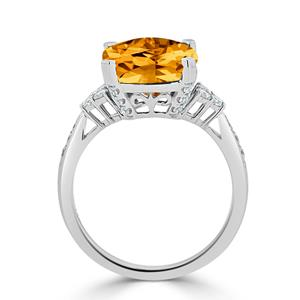 Halo Citrine Diamond Ring in 14K White Gold with 5.20 carat Cushion Citrine