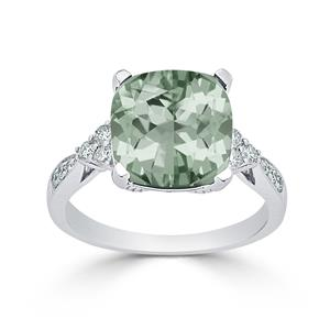 Halo Green Amethyst Diamond Ring in 14K White Gold with 3.60 carat Cushion Green Amethyst