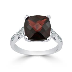 Halo Garnet Diamond Ring in 14K White Gold with 5.20 carat Cushion Garnet
