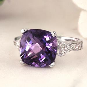 Halo Purple Amethyst Diamond Ring in 14K White Gold with 3.60 carat Cushion Purple Amethyst