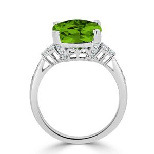 Halo Peridot Diamond Ring in 14K White Gold with 5.20 carat Cushion Peridot