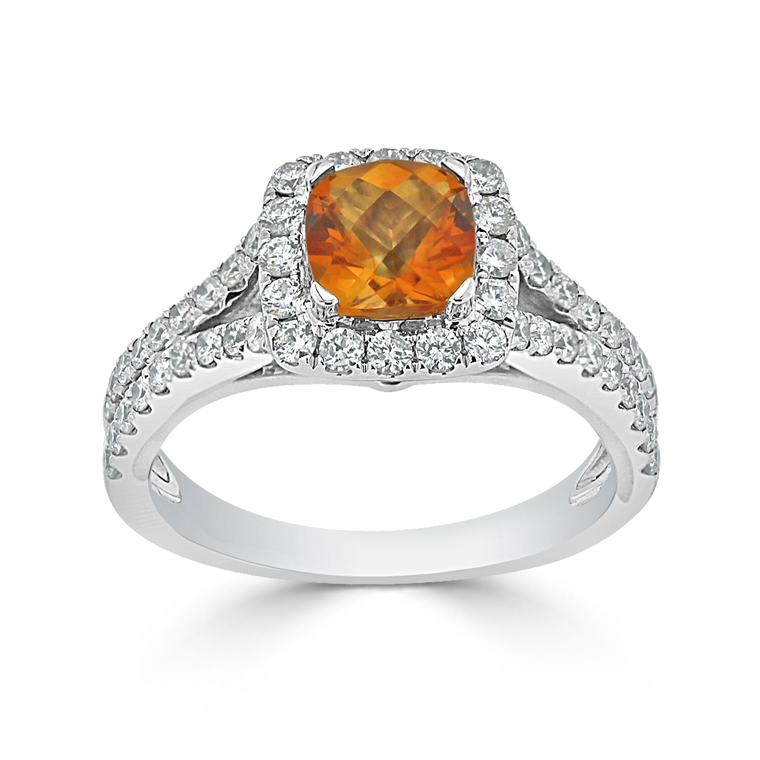 Halo Citrine Diamond Ring in 14K White Gold with 0.90 carat Cushion Citrine