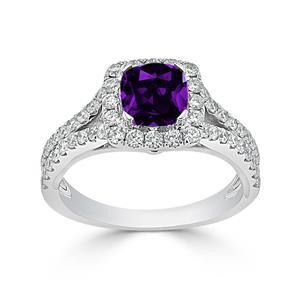 Halo Purple Amethyst Diamond Ring in 14K White Gold with 0.60 carat Cushion Purple Amethyst