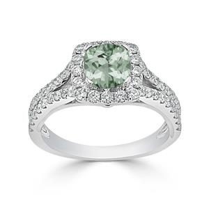 Halo Green Amethyst Diamond Ring in 14K White Gold with 0.60 carat Cushion Green Amethyst