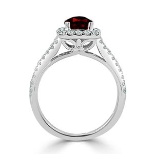 Halo Garnet Diamond Ring in 14K White Gold with 0.90 carat Cushion Garnet
