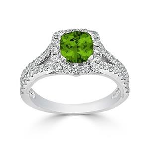 Halo Peridot Diamond Ring in 14K White Gold with 0.90 carat Cushion Peridot