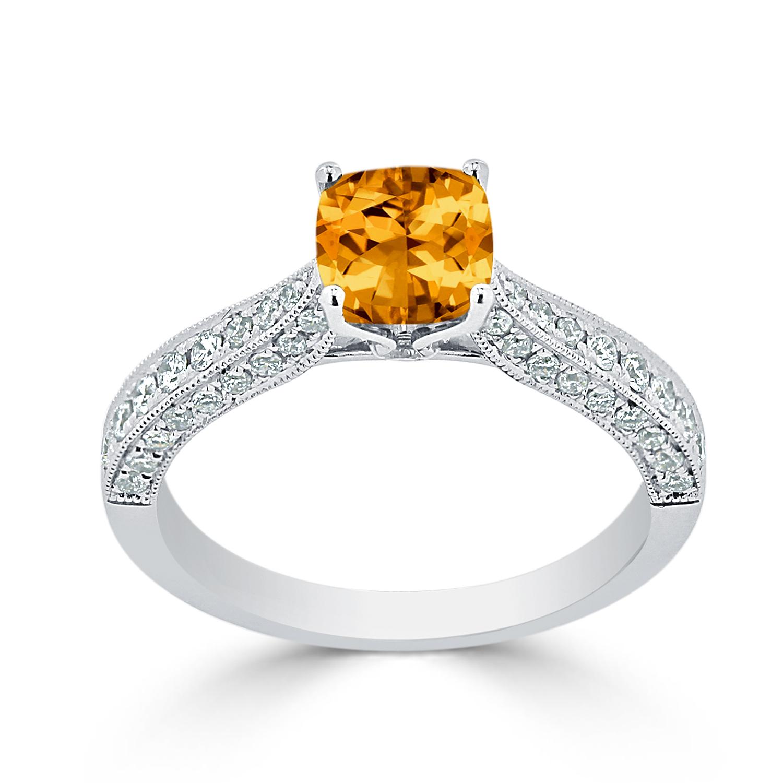 Halo Citrine Diamond Ring in 14K White Gold with 0.90 carat Cushion Citrine
