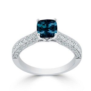 Halo London Blue Topaz Diamond Ring in 14K White Gold with 0.90 carat Cushion London Blue Topaz