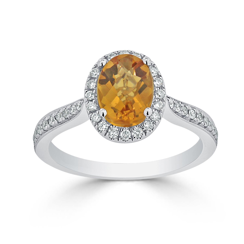 Halo Citrine Diamond Ring in 14K White Gold with 1.90 carat Oval Citrine