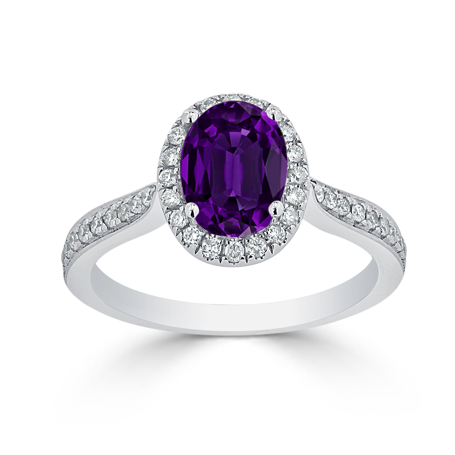 Halo Purple Amethyst Diamond Ring in 14K White Gold with 1.30 carat Oval Purple Amethyst